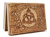 Caja de Tarot de madera sólida con triqueta celta tallada Sólido 17,68cmx 12,60cm.