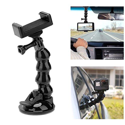 Supporto a ventosa, supporto per auto Supporto flessibile regolabile a collo di cigno per estensione magica con staffa di montaggio per telefono per GoPro Hero, YI, SJ6000, iPhone e smart phone