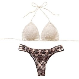 Costumi Donna, DoraMe Nappe Swimwear Bikini Set Patchwork da Bagno Due Pezzi