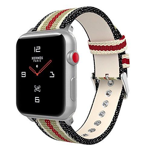 MoKo Cinturino per Apple Watch 42mm 44mm Series 5/4/3/2/1, Cinturino Sportivo di Ricambio in Tela Morbida + Watch Lugs per Apple Watch Nike 42mm 44mm, Nero & Bianco & Marrone & Rosso