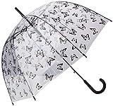 SMATI Parapluie Femme Cloche/Dome Transparent Automatique - Cloche Papillons Noirs - Smati