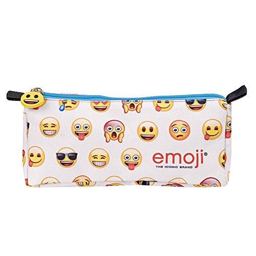 Astuccio Scuola Emoji Bustina con Cerniera Azzurra ed Emoticons Gialle su Sfondo Bianco - Pratico...