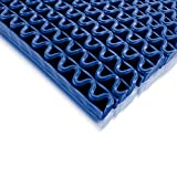 Tappeto Antiscivolo Impermeabile Anti-Slip | Pedana in Plastica, Gomma, PVC, al Metro | Ondulato | Vari Colori e Misure - 90x100cm - blu