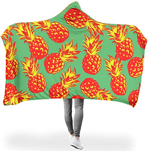 Rcerirt Pineapple Fruit Summer Coperta Accogliente incolore con Cappuccio Quadrato per Tutte Le...