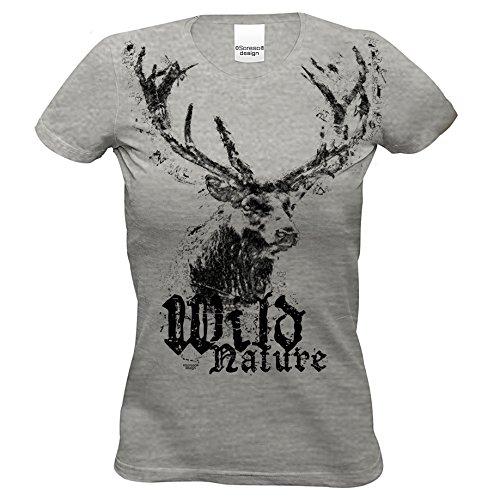 Damen Trachten T-Shirt Kurzarm mit Hirsch Motiv : Trachtenshirt für Oktoberfest Volksfest Freizeit für Mädchen und Frauen : Wild Nature Farbe: dunkelgrau Gr: L