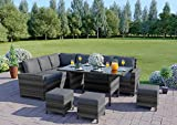 Abreo Rattan Dining Set Furniture Garden Corner 9 Seater INCLUDES PROTECTIVE COVER Black Brown Dark Mixed Grey (Dark Mixed Grey With Dark Cushions)