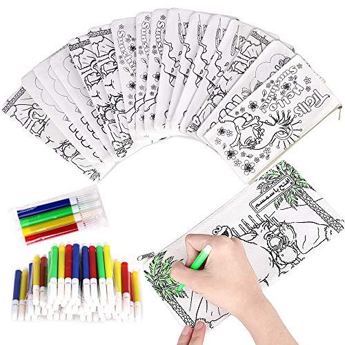 Faburo 16 pz Astucci da Colorare Bambini | 16 Bustine Singole + 16 Pacchetto Penna Colorata per...