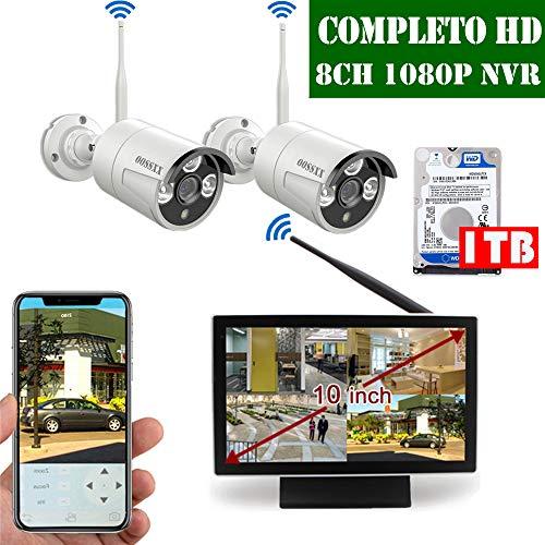 【2019 Nuovo】 Kit Videosorveglianza WiFi Esterno 1080P, Kit Videosorveglianza Telecamera 8 Canali Di Sorveglianza Wireless Esterno, Monitor LCD da 10' 2 x 1080P Videosorveglianza IP67 Camera, 1TB HDD