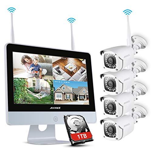 Annke - Sistema di videosorveglianza 4 CH 1080P FHD NVR senza fili con schermo LCD 12', con 4 telecamere 1080P IP interne ed esterne, salva-schermo automatico, disco rigido da 1 TB