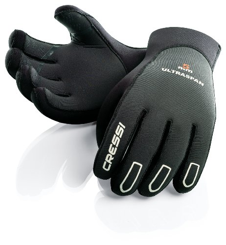 Cressi Ultraspan Gloves Guanti in Neoprene, 5 mm, Nero, S
