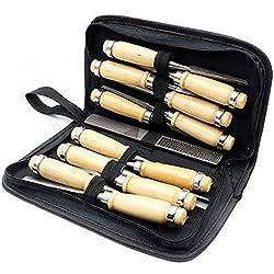 Cinceles Tallado madera Juego Herramienta manual Carpintería Torno Gubias Herramientas Escofina madera (13Pcs)