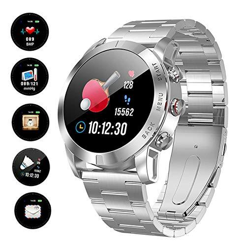 FXMINLHY - Smartwatch Sportivo, in Acciaio Inox, 3,3 cm, con cardiofrequenzimetro, monitoraggio del...