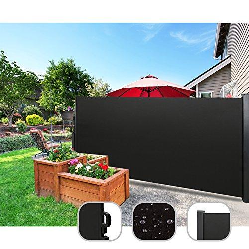 CCLIFE Seitenmarkise Ausziehbar Sichtschutz Windschutz Sonnenschutz TÜV mit Alu-Rolle, Farbe:Schwarz, Größe:160x300cm