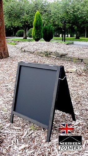Impermeabilizzate lavagna a bordo telaio sandwich Pavement Sign nero 800mm x 600mm su due lati
