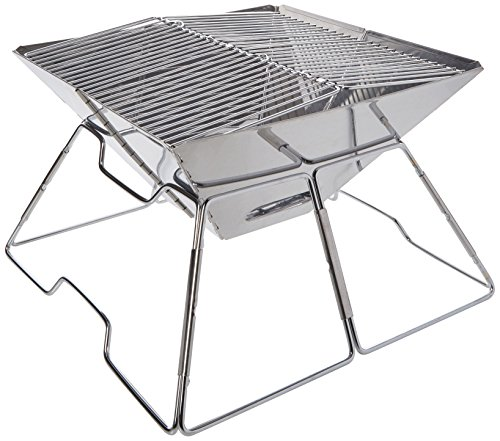 The Yellowstone Outdoor Pac-Flat BBQ Kit is your friend and really is an amazing bbq for those looking for a very compact bbq you can take any where. It is simple to assemble and de-assemble when you need to go. This simple unit would do well for camping but ensure that the grill is placed on top of something so that if the embers fall, they won't burn the grass, a good idea is to sue a simple foil tray.