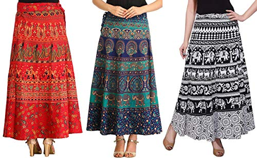 MRV MACY FASHION Women's Cotton Pack Of 3 Long Skirts (MRV MACY _Blue-White-Red_ Free Size)