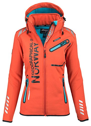 Geographical Norway, Giacca da donna, multifunzione, impermeabile e sportiva Orange S