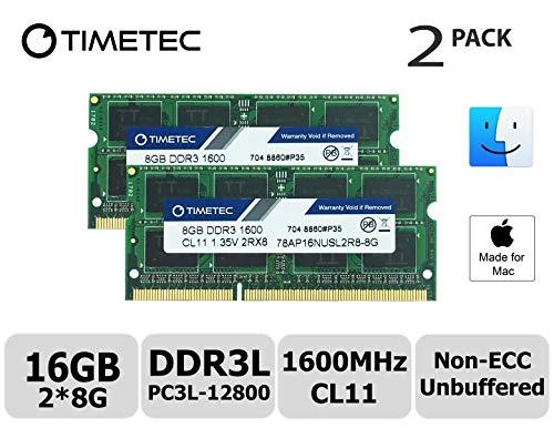 Timetec Hynix IC 16GB Kit (2x8GB) DDR31600MHz PC3-12800 SODIMM Memory Upgrade For Mac (16GB Kit (2x8GB))