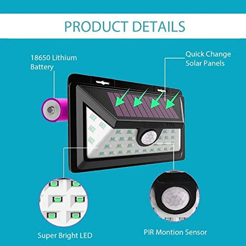 Sampri Solar Lights Motion Sensor Security Lights,34LED Solar Powered Light Wireless Waterproof Security Light for Outside Wall (2 Modes Motion Activated, Wide Angle Sensor) with Front Switch