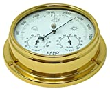 Baromètre en laiton avec hygromètre et thermomètre intégrés, laiton laqué lourd (1/2 kg), bateau à voile Yacht- Horloge côtière marine - Fait main en Angleterre.