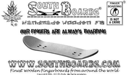 SOUTHBOARDS Acciaio Finger Skate Board Zebra/Go/sez South Boards® Hand Made Wood Finger Board in Ve