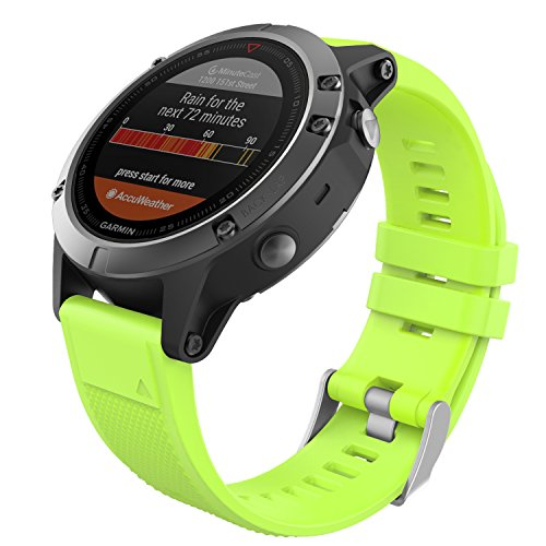 MoKo Garmin Fenix 6/Fenix 6 PRO/Fenix 5 Cinturino, Braccialetto Morbido di Ricambio in Silicone per Garmin Forerunner 935 Smart Watch, per Polso 5.31'-8.85', Verde