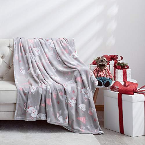 Bedsure Coperta in Pile Modello di Unicorno per Bambini e Neonati Morbido per Letto e Divano 130x150cm - Plaid Coperta Calda Letto Singolo di Flanell Microfibra