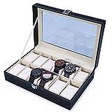 The perseids orologio Storage box display orologio di lusso con delicate Patterns Gentle interno in pelle sintetica per 12 orologi gioielli di stoccaggio organizzatore Black