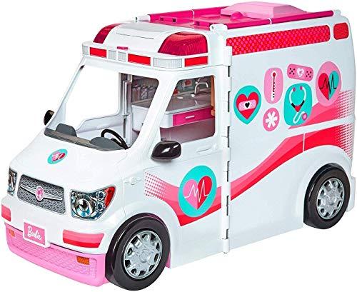 Barbie Ambulanza, Trasformabile in Clinica Mobile con 3 Stanze e Tanti Accessori, Bambola Non...