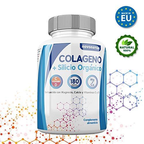Colageno, Colageno hidrolizado con magnesio, calcio, vitamina C y D, mas Silicio organico, protege huesos, articulaciones, piel, uñas y cabello, 180 comprimidos, sin gluten. Novonatur.