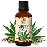 Huile de Graines de Chanvre 50ml - 100% Pur & Naturelle - Huile de Graines de Cannabis Sativa - Pressée à Froid - Huile de Base - Massage - Cosmétiques - Soins des Cheveux & de Peau - No CBD & THC
