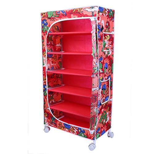 Little One's | 6 Shelves Foldable Wardrobe/Toy Box | Jungle Red