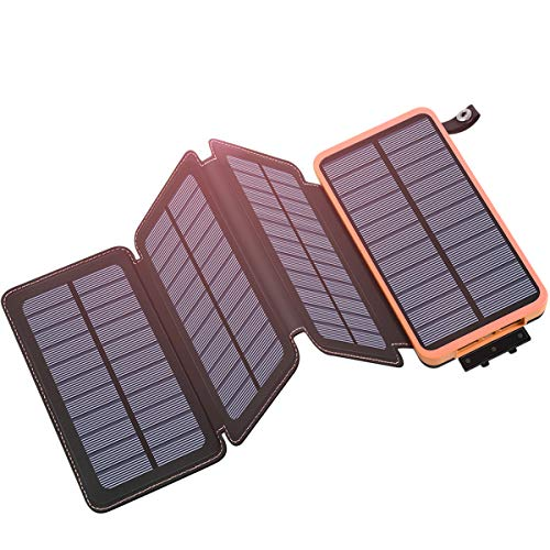 Hiluckey Caricabatterie Solare 25000mAh Portatile Power Bank con 2.1A USB Porte Impermeabile...