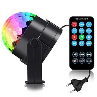 Discokugel-LED-Party-Lampe-Beleuchtung-mit-Fernbedienung-Spriak-7-Farbe-RGB-Dj-Licht-mit-3W-Musik-und-Stimme-Steuerung-Disco-Party-Lichter