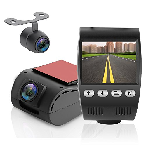 Pyle Dual Camera DVR Video Recording System Dash Cam Rearview Backup Cam 2.0 Monitor Display PLDVRCAM48