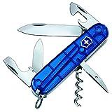 Victorinox Spartan Taschenmesser, 12 Funktionen, Klinge, Korkenzieher, Dosenöffner, blau transparent