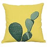 Funda Cojin Cactus Y Plantas Tropicales Poliéster Amarillo
