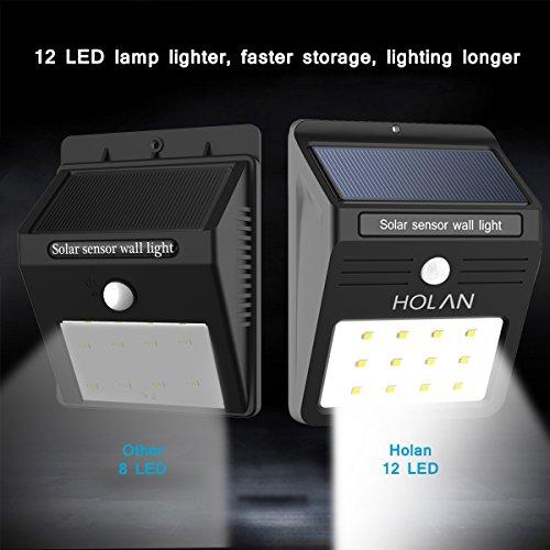 Lampe solaire jardin led sans fil holan 12 led luminaire - Detecteur de mouvement lumiere exterieur sans fil ...