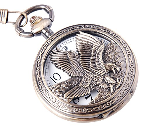 Aquila di design orologio da tasca con catena Movimento al quarzo numeri arabi Mezza Hunter Vintage Design PW-65