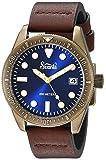 Szanto Men's 'Vintage Dive' Quartz Stainless Steel and Leather Casual Watch, Color:Brown (Model: SZ5205)