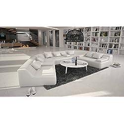 Rund-Sofa mit Bezug aus weißem Kunstleder 410x272 cm halbrund | Catoca | Designer Wohnlandschaft im XXL Format Recamiere links | Couch-Garnitur für Wohnzimmer weiss 410cm x 272cm