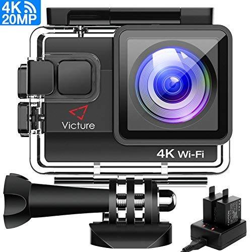 Victure 4K Action Cam Wi-Fi 20MP Ultra HD Impermeabile 40M Immersione Sott'acqua Camera 170° Grandangolare 2.0 Pollici due 1050mAh Batterie/Caricabatteria/Kit Accessori per Ciclismo Nuoto
