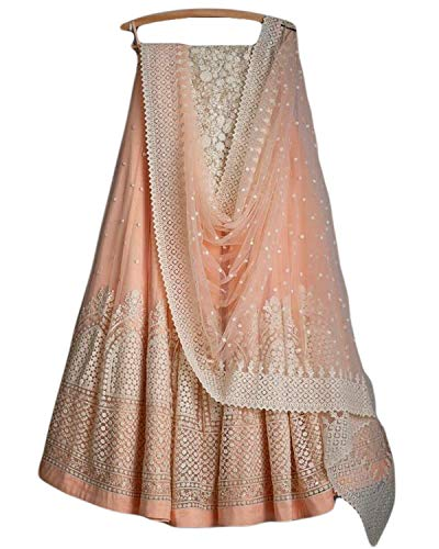 Clickedia Women's Georgette Lehenga Choli Duppatta With Blouse Piece (Peach_ Free Size)