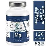 VITARAGNA Magnesium Kapseln Pur, vegan, Magnesiumcitrat und Magnesium Glycinat Pulver in Kapseln, Frei von Zusatzstoffen wie Magnesiumstearat, Laborgeprüft, Magnesium-Komplex 120 Kapseln