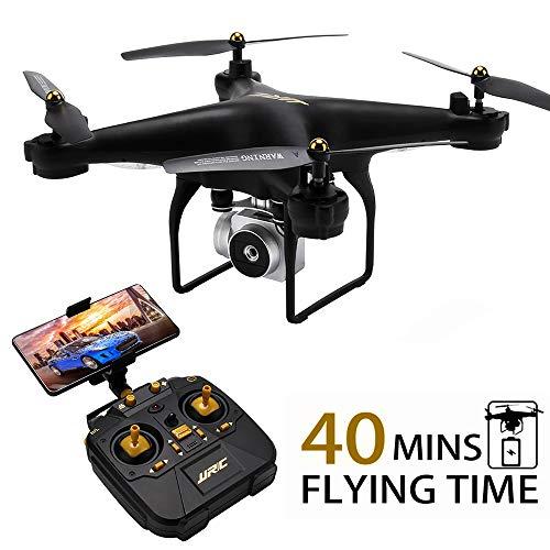 40 (20 + 20) Minuti di volo di lunga durata Drone JJRC H68 RC Quadcopter con fotocamera 720P FPV WiFi elicottero con 2 batterie Altitudine Hold Modalità senza testa Controllo APP Miglior drone (Nero)
