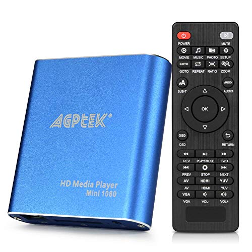 AGPTEK Media Player 1080P HD Digital Media Player - MKV/RM - HDD SD/USB - HDMI Supporto HDMI CVBS e...