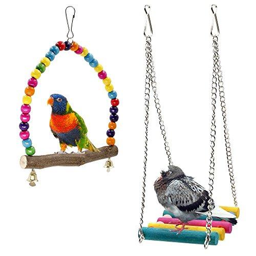 Rabi, altalene da gabbia per uccelli, in legno, adatte per parrocchetti, conuri, pappagalli,...