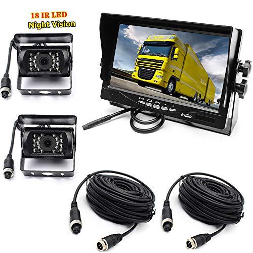 4 pin 2X18 LED visione notturna infrarossi Telecamera di retromarcia impermeabile infrarossi 10 M con cavo da + 7'' LCD TFT HD da Schermo per camper, camion, rimorchi, autobus