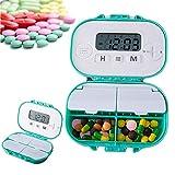 Q&Z Automatische Tabletten-Spender,Intelligente Pillendose Wecker Pillenbox Timer Alarm Pillen 4 SäTze Wecker 4 Partitionen Leicht Zu ÖFfnen FüR Reise Und TäGlichen Gebrauch
