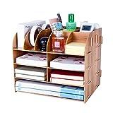 Organizador de Escritorio Madera, Lesfit Diseño Simple y Moderno Organizador de Papeleria, Compacto Organizador Sobremesa para Suministros de Oficina